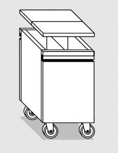 18078.96 Tramoggia carrellata passante con divisorio da cm 45x68x76h completa di coperchio