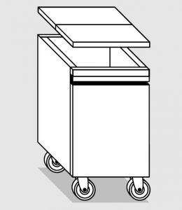 18057.78 Tramoggia carrellata semplice da cm 45x75x76h completa di coperchio