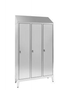 IN-694.00.430 3 puertas 3 vestidores Aisi 430 armario de acero inoxidable con partición sucia / limpia Cm. 120X40X215H