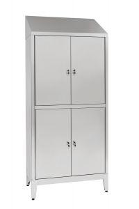 IN-694.06.430 Aisi 430 Armario multi-locker de 4 plazas con partición Cm. 95X40X215H