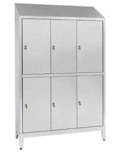 IN-694.10 Superimposed Locker In Stainless Steel Aisi 304 At 6 Places Cm. 120X40X215H