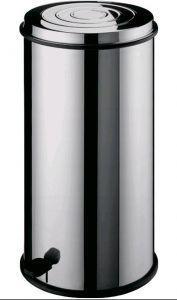 AV4661 Poubelle ronde acier inox Panier intérieur Pédale 40 litres