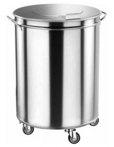 AV4669 Portarifiuti su ruote acciaio inox cilindrico 100 litri
