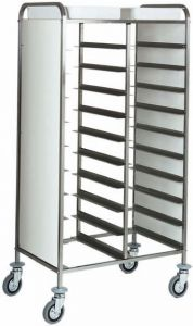 CA1461RP Stainless steel reinforced tray-holder trolley 20 trays Side panels in white perfex
