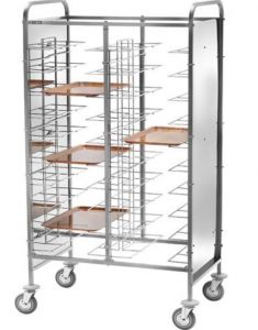 CA1475P Stainless steel universal tray-holder trolley 30 trays White Side panels