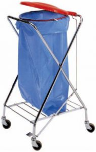 CA1603 X trolley chromed sack holder with pedal