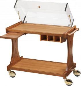 CL2350W Carrello per dolci formaggi legno 2 piani cupola Wengè 86x55x95h