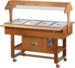 ELR2825 Espositore legno noce  refrigerato su ruote tettoia (+2°+10°C) 4x1/1GN
