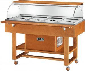 ELR2826 Refrigerated trolley (+2°+10°C) 4x1/1GN Plexiglass cover Top shelf