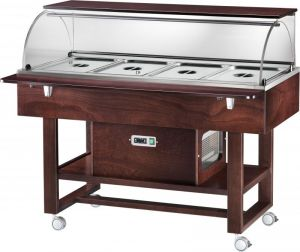 ELR2826BTW Refrigerated display case cart (-5°+5°C) 4 1/1GN dome top shelf Wengé