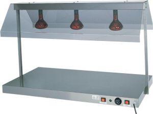 PCI4712 Piano caldo acciaio inox 2 lampade infrarossi 85x64x80h