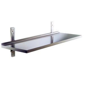 RI9000 - Shelf smooth stainless steel AISI 304 with back dim. cm. 60x30x4h