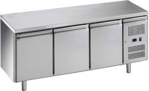 G-GN3100TN-FC Banco refrigerato ventilato in acciaio inox AISI201, 3 porte