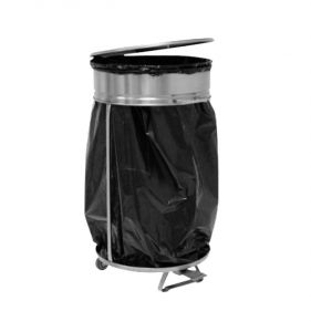 MC1008 Soporte para bolsas con tapa y peda de acero inox