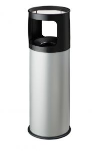 T775032 Papelera-cenicero Anti-fuego metal gris 30 litros con arena