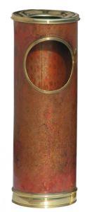 T700101 Papelera con cenicero de cobre con bordes de laton 16 litros