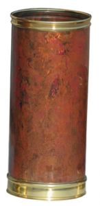 T700103 Cylindrical copper umbrella stand with brass rims