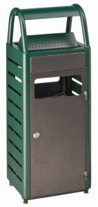 T103011 Papelera con cenicero verde/silver exterior 25+4 litros