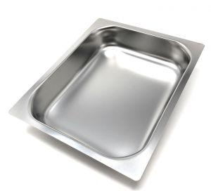 FNC1 / 2P065 Plateau de gastronomie 1/2 h65 en acier inoxydable bord plat AISI 304