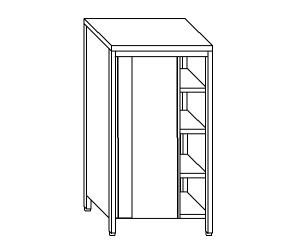 AN6007 neutral stainless steel cabinet with sliding doors