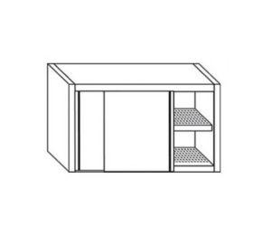 PE7040 Cabinet avec portes coulissantes en acier inoxydable avec égouttoir L = 80cm