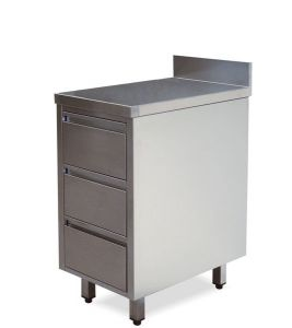 CA3003 drawers with stainless steel splashback and 3 drawers