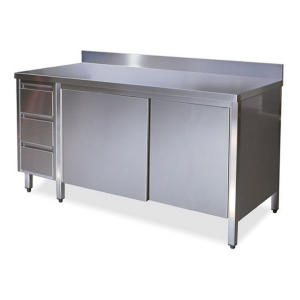 TA4130 cupboard with stainless steel doors on one side, drawers and backsplash SX