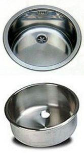 LV042 Evier rondes en acier inoxydable diam. 420x180h mm à souder avec bonde