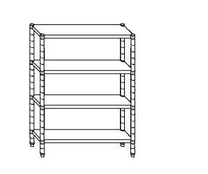 SC8292 shelf aluminized steel 70x40x200 cm