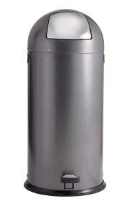 T106024 Poubelle à pédale metal gris et trappe inox 52 litres