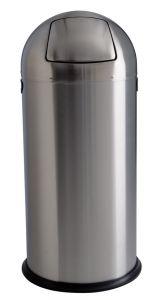 T106032 Poubelle acier inox satiné à trappe push 52 litres