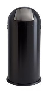 T106033 Black steel bin with stainless steel push flap opening 52 liters