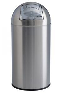 T106051 Poubelle acier inox satiné à trappe push 40 litres