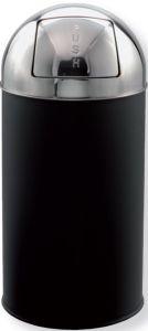 T106053 Poubelle dôme à clapet push metal noir/inox 40 litres