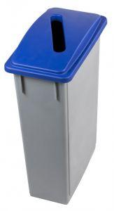 T102205 Contenedor residuos rectangular Polipropileno Gris con tapa Azul para papel 90 litros