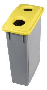 T102206 Contenedor residuos Polipropileno Gris con tapa 2 agujeros Amarilla 90 litros