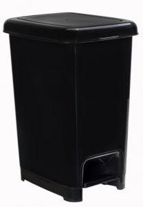 T909811 Cubo de basura con pedal en polipropileno negro 10 litros