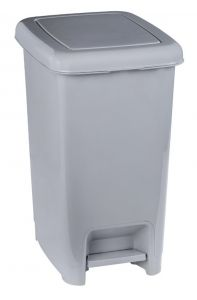 T909961 Cubo de basura con pedal en polipropileno gris 60 litros