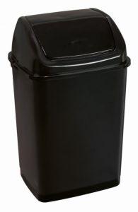 T909535 Poubelle avec couvercle inclinable noir en polypropylène de 35 litres