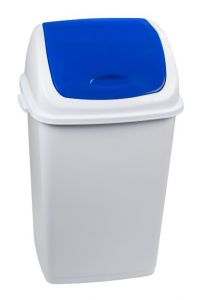 T909055 Cubo de basura Polipropileno blanco con tapa basculante azul 50 litros (múltiplos 6 piezas)