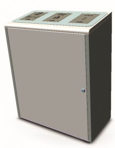 T789075 Collecteur de dechets séparée en acier inox 3x40 litres