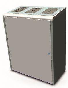 T789075 Gettacarte per raccolta differenziata acciaio inox satinato 3x40 litri