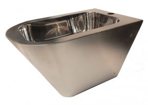 """LX3518 Professional suspended bidet """"GQ in Aisi 304 stainless steel with satin finish and internal glossy finish..."""