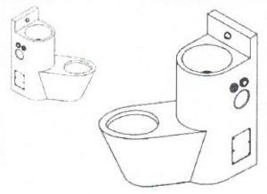 LX3690 Blocco Professionale combinato WC con lavabo - versione Destra - lucido
