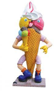 SG008 Cono de publicidad Gelato Goloso 3D para heladería, altura 215 cm