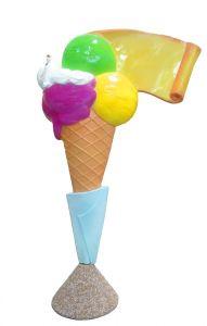 EG011A Helado con pergamino - cono de publicidad 3D para heladería, altura 150 cm