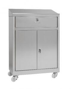 IN-699.04C Mesa de gabinete con gabinete de 2 puertas con cajón de acero - dim. 80x40x115 H