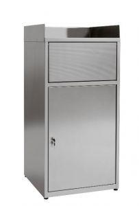 El contenedor de basura IN-Z.701.01 vacía las bandejas en lámina de zinc plastificado - Dim. 60x60x120 H