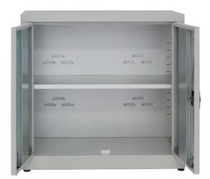 IN-Z.694.15.50 Low 2 Door Plastic Storage Cabinet, 100x50x80 H plasticized zinc