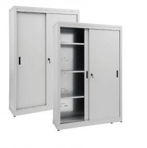 IN-Z.690.12.60 Storage Cabinet with Sliding Doors plasticized zinc 120x60x180 H